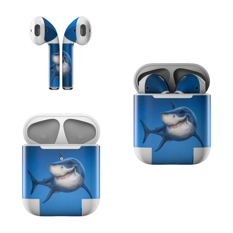 Apple AirPods Skin design of Fish, Great white shark, Shark, Tiger shark, Cartilaginous fish, Requiem shark, Lamniformes, Bull shark, Carcharhiniformes with black, blue, gray colors