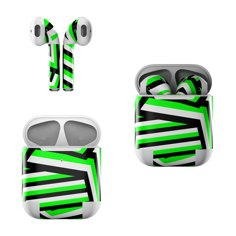 Apple AirPods Skin design of Green, Line, Pattern, Design, Font, Parallel, Symmetry, Graphics, Graphic design with black, green, white, gray colors