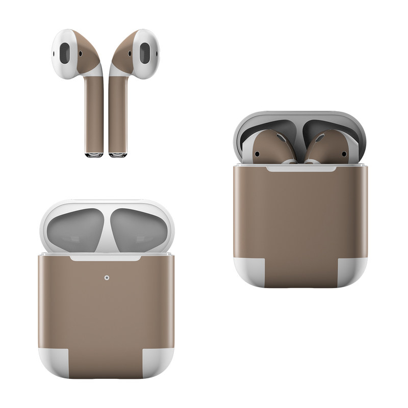 Apple AirPods Skin design of Brown, Text, Beige, Material property, Font with brown colors