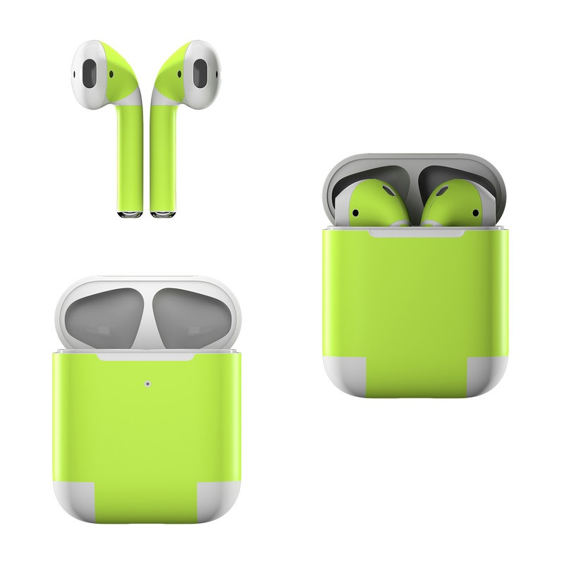 Apple AirPods Skin design of Green, Yellow, Text, Leaf, Font, Grass with green colors