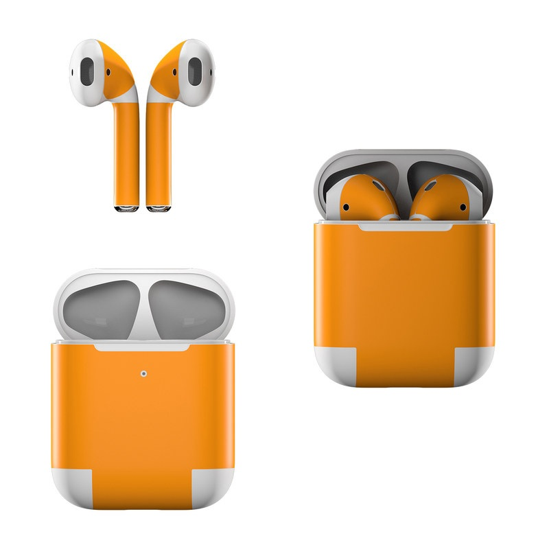 Apple AirPods Skin design of Orange, Yellow, Brown, Text, Amber, Font, Peach with orange colors