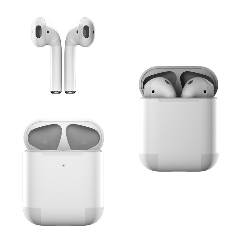 Apple AirPods Skin design of White, Black, Line with white colors