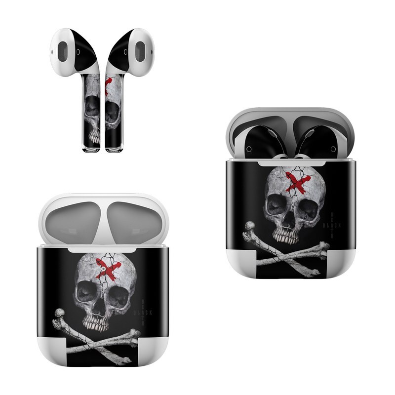 Apple AirPods Skin design of Bone, Skull, Skeleton, Jaw, Illustration, Animation, Fictional character, Still life photography with black, white, gray colors