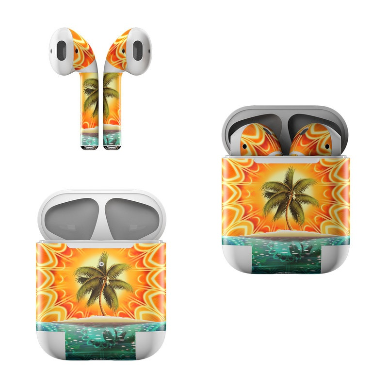 Apple AirPods Skin design of Nature, Palm tree, Orange, Water, Arecales, Tropics, Tree, Calm, Plant, Landscape with orange, black, green, red, gray, blue colors