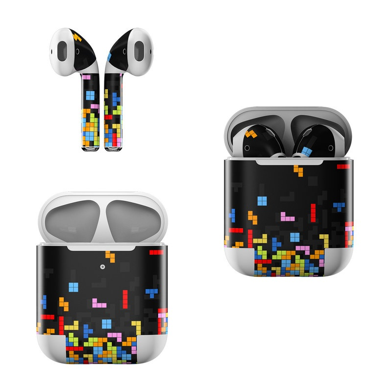 Apple AirPods Skin design of Pattern, Symmetry, Font, Design, Graphic design, Line, Colorfulness, Magenta, Square, Graphics with black, green, blue, orange, red colors