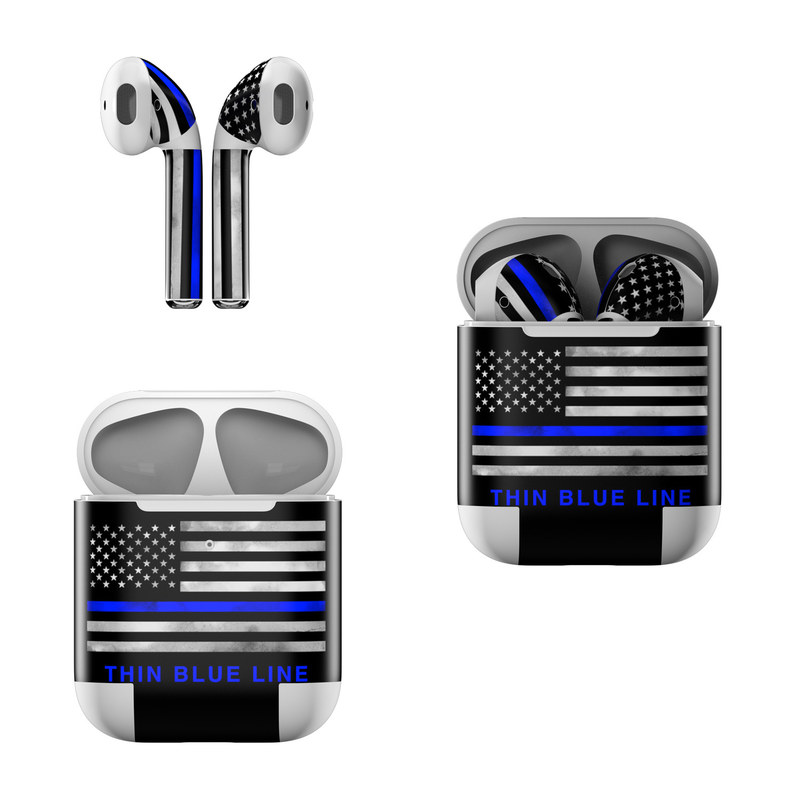 Apple AirPods Skin design of Line, Flag, Text, Flag of the united states, Font, Parallel, Symmetry, Black-and-white, Pattern, Graphics with black, white, gray, blue colors