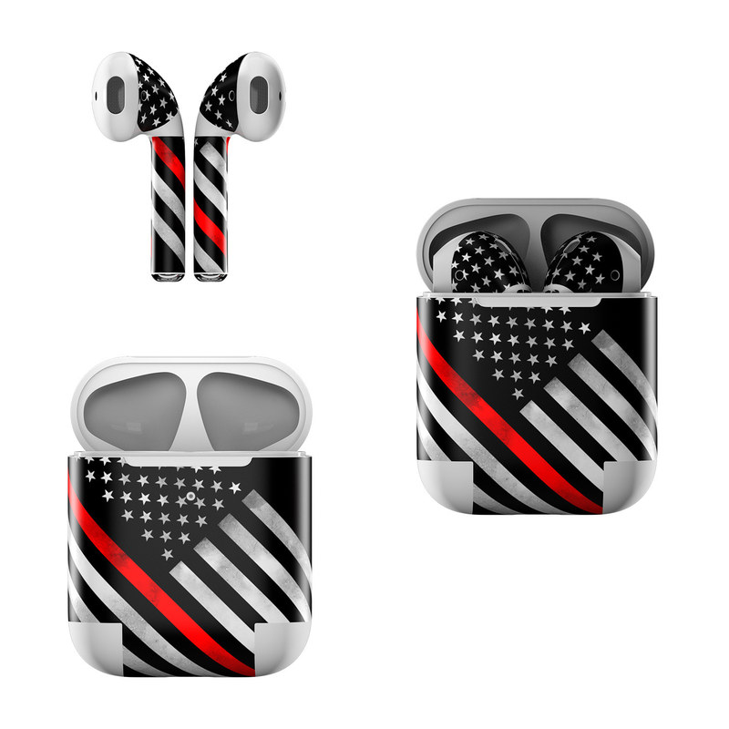 Apple AirPods Skin design of Flag of the united states, Flag, Line, Black-and-white, Pattern, Flag Day (USA), Veterans day, Independence day, Memorial day with black, white, gray, red colors