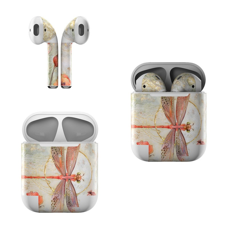 Apple AirPods Skin design of Watercolor paint, Botany, Flower, Illustration, Floral design, Painting, Plant, Coquelicot, Art, Still life photography with red, yellow, gray colors