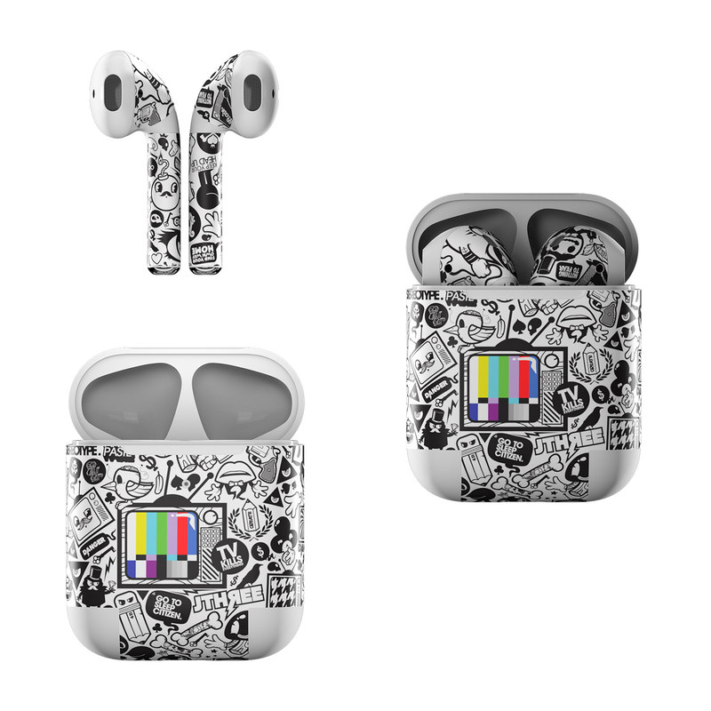 Apple AirPods Skin design of Pattern, Drawing, Doodle, Design, Visual arts, Font, Black-and-white, Monochrome, Illustration, Art with gray, black, white colors