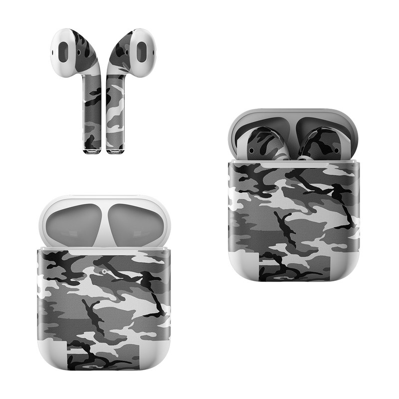 Apple AirPods Skin design of Military camouflage, Pattern, Clothing, Camouflage, Uniform, Design, Textile with black, gray colors