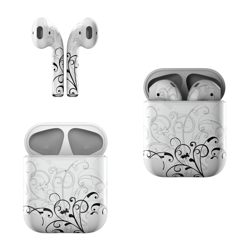Apple AirPods Skin design of White, Line art, Floral design, Pattern, Black-and-white, Design, Botany, Ornament, Leaf, Line with white, gray, black colors