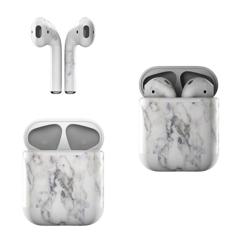 Apple AirPods Skin design of White, Geological phenomenon, Marble, Black-and-white, Freezing with white, black, gray colors