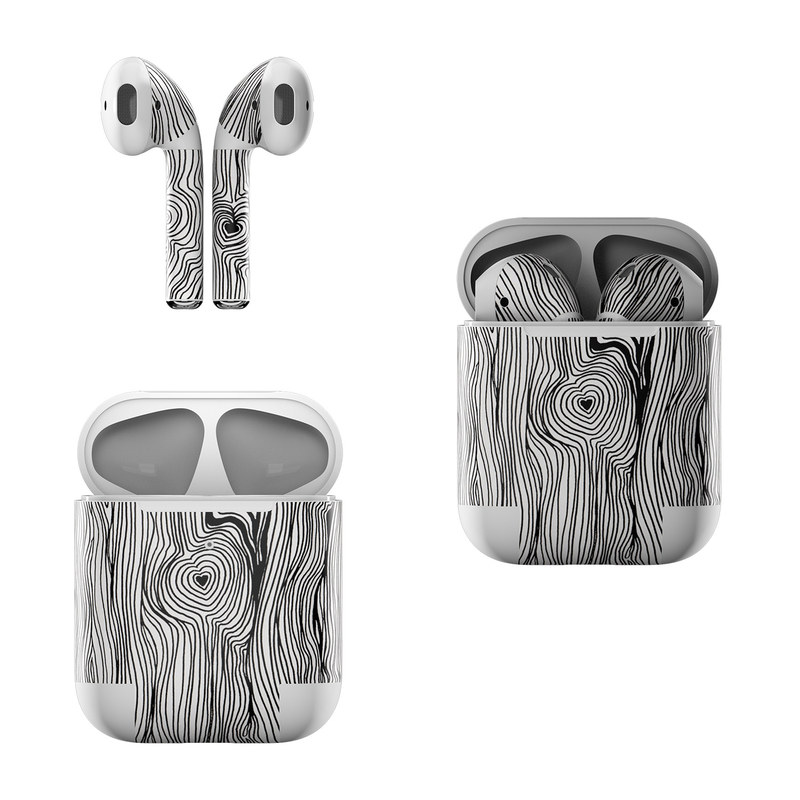 Apple AirPods Skin design of Wood, Tree, Line, Trunk, Pattern, Black-and-white, Plant with black, white colors