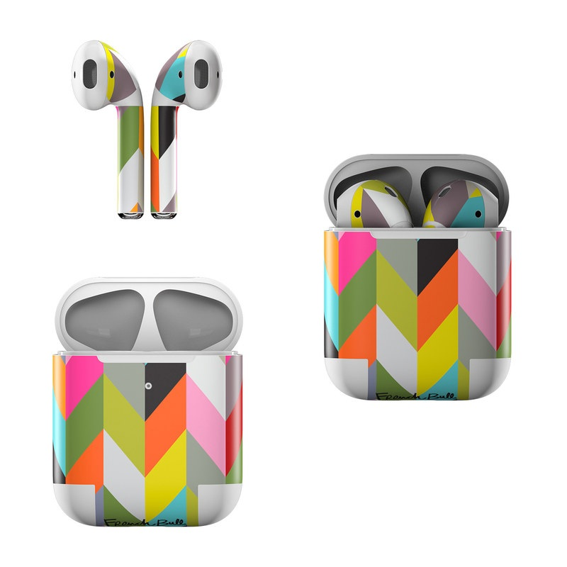 Apple AirPods Skin design of Pattern, Orange, Line, Design, Graphic design, Tints and shades, Triangle with red, green, gray, black, blue, purple colors