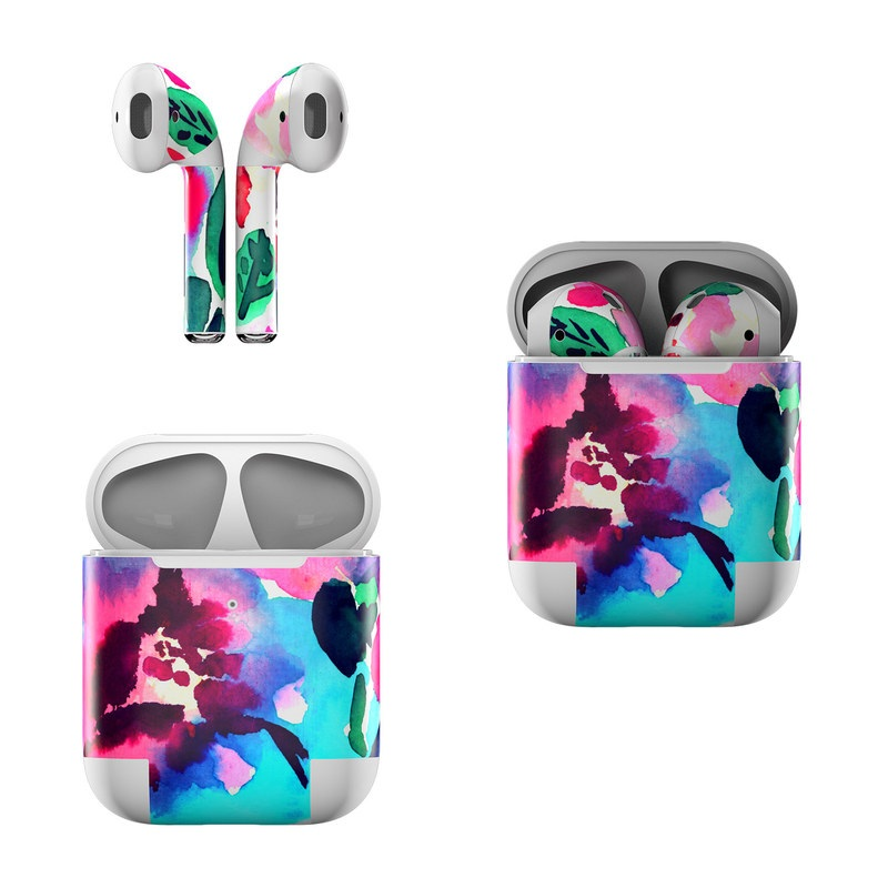 Apple AirPods Skin design of Flower, Pink, Petal, Plant, Pattern, Hawaiian hibiscus, Design, Magenta, Flowering plant, Watercolor paint with white, pink, blue, green, red colors