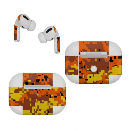 Digital Orange Camo Apple AirPods Pro Skin