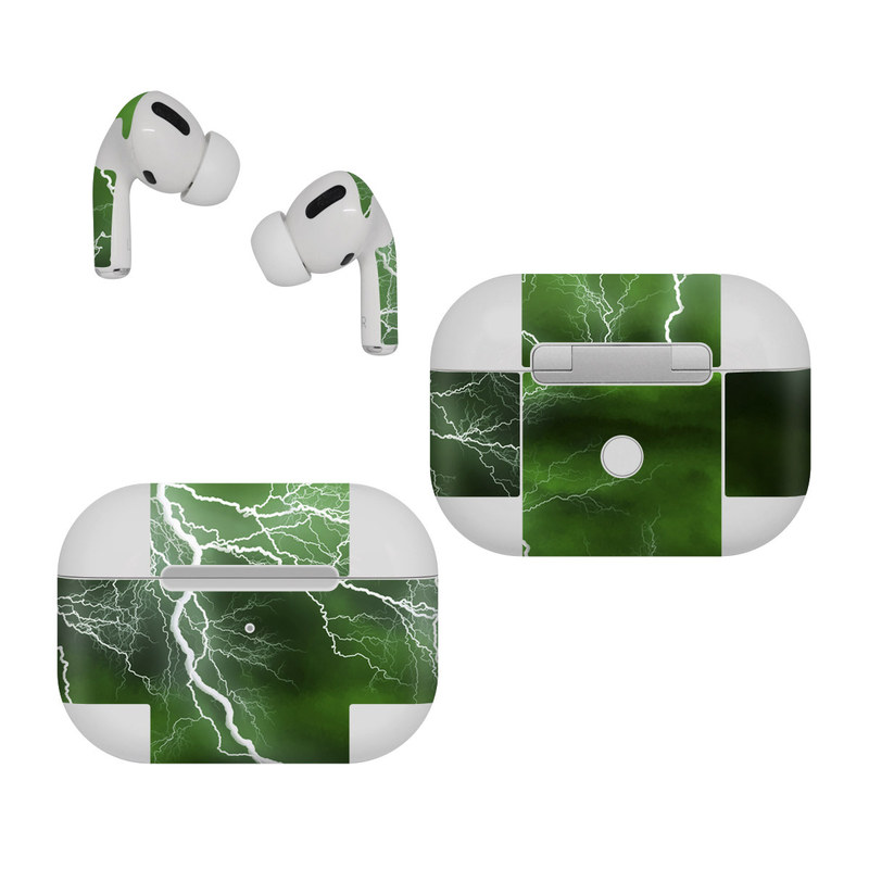 Apple AirPods Pro Skin design of Thunderstorm, Thunder, Lightning, Nature, Green, Water, Sky, Atmosphere, Atmospheric phenomenon, Daytime with green, black, white colors