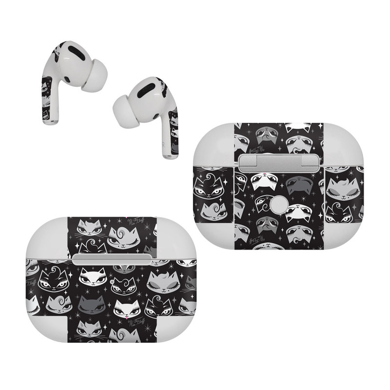 Apple AirPods Pro Skin design of Pattern, Design, Headgear, Hat, Smile, Team, Crowd with black, white, gray colors