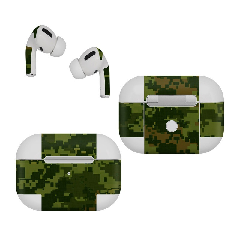 Apple AirPods Pro Skin design of Military camouflage, Green, Pattern, Uniform, Camouflage, Clothing, Design, Leaf, Plant with green, brown colors