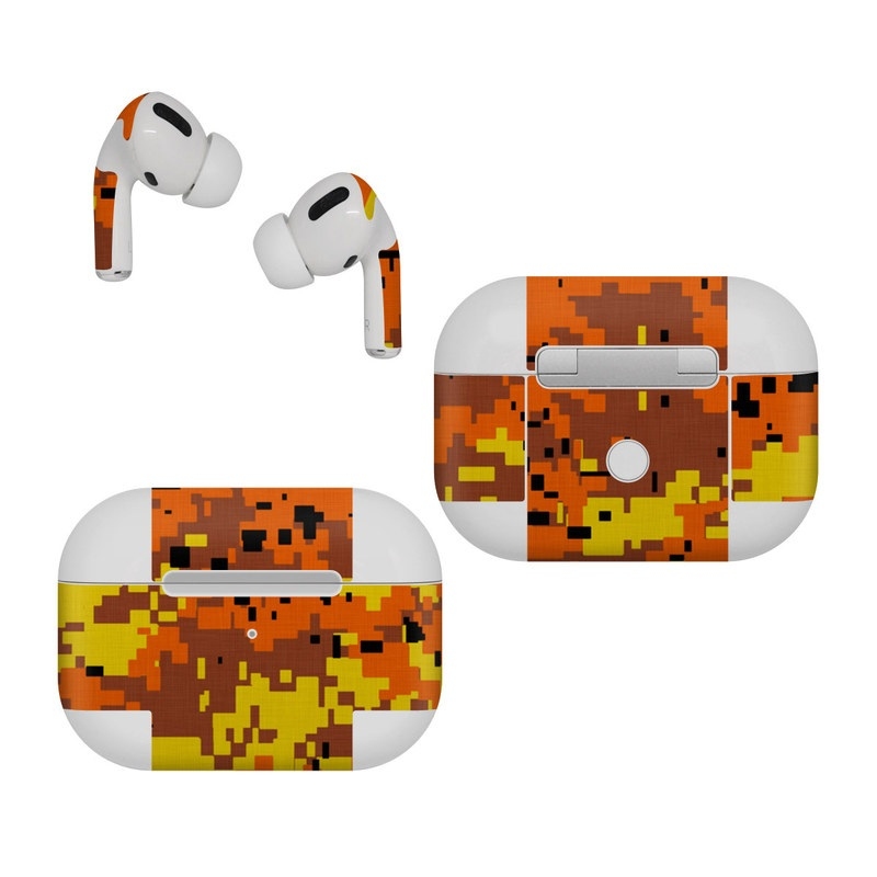 Apple AirPods Pro Skin design of Orange, Yellow, Leaf, Tree, Pattern, Autumn, Plant, Deciduous with red, green, black colors