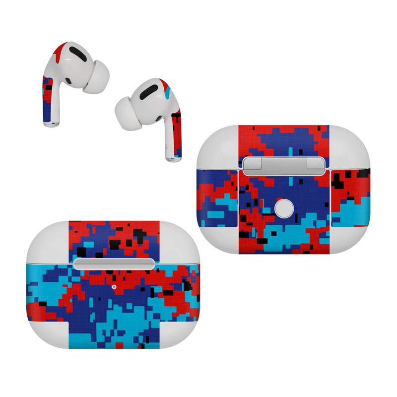 Apple AirPods Pro Skin design of Blue, Red, Pattern, Textile, Electric blue with blue, red colors
