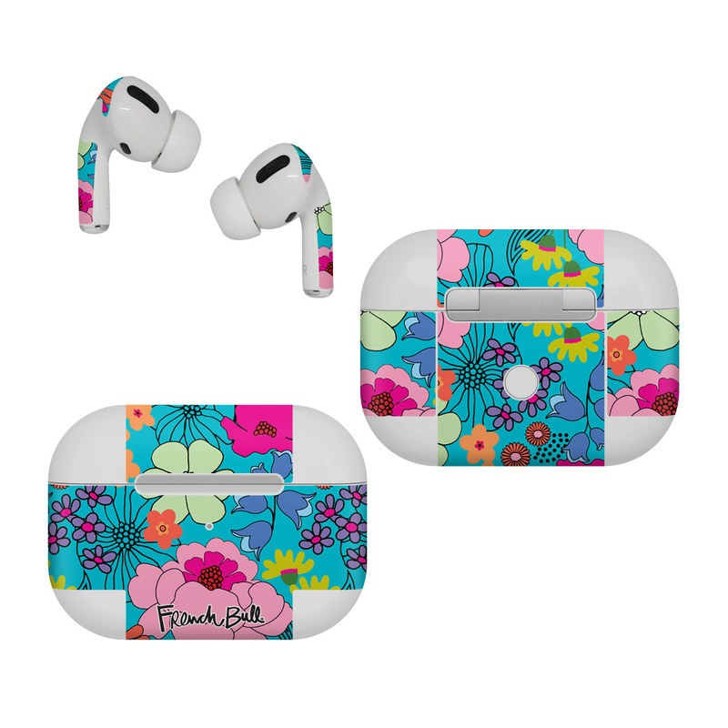 Apple AirPods Pro Skin design of Flower, Green, Azure, Nature, Botany, Petal, Blue, Textile, Pink, Art with blue, pink, yellow, orange, red, purple, green colors