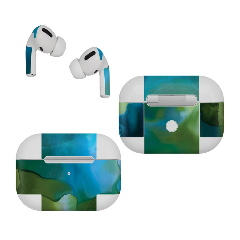 Apple AirPods Pro Skin design of Aqua, Blue, Green, Painting, Turquoise, Teal, Water, Acrylic paint, Art, Organism with blue, green colors