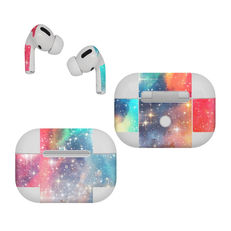 Apple AirPods Pro Skin design of Nebula, Sky, Astronomical object, Outer space, Atmosphere, Universe, Space, Galaxy, Celestial event, Star with white, black, red, orange, yellow, blue colors
