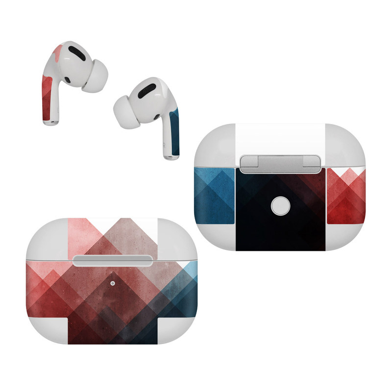 Apple AirPods Pro Skin design of Blue, Red, Sky, Pink, Line, Architecture, Font, Graphic design, Colorfulness, Illustration with red, pink, blue colors