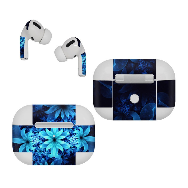 Apple AirPods Pro Skin design of Nature, Blue, Petal, Organism, Darkness, Flower, Colorfulness, Electric Blue, Majorelle Blue, Pattern, Botany, Still Life Photography, Space, Aquatic Plant, Fractal Art, Visual Arts, Illustration, Symmetry, Midnight, Wildflower, Painting, Still Life with black, blue, white colors