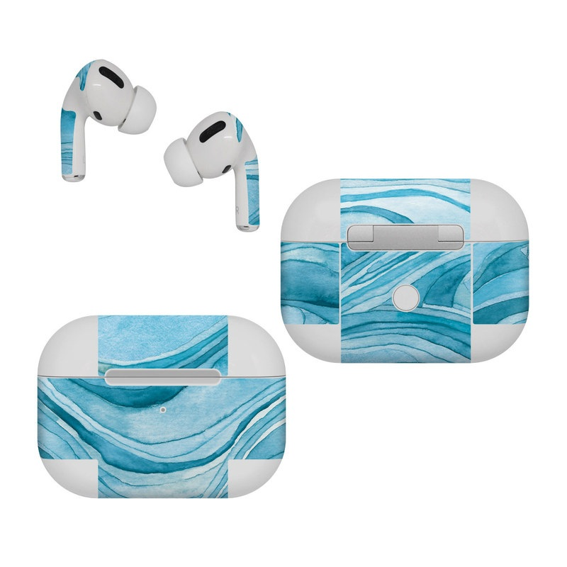 Apple AirPods Pro Skin design of Water, Liquid, Azure, Fluid, Rectangle, Aqua, Painting, Pattern, Electric blue, Art with blue, white colors