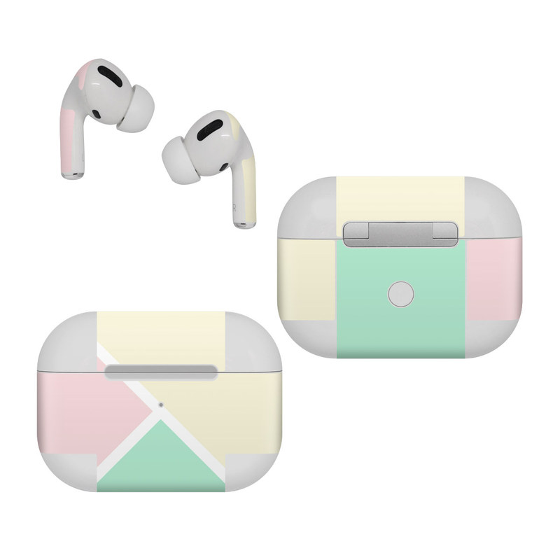 Apple AirPods Pro Skin design of Green, Aqua, Turquoise, Blue, Pink, Yellow, Line, Teal, Pattern, Design with yellow, pink, green colors