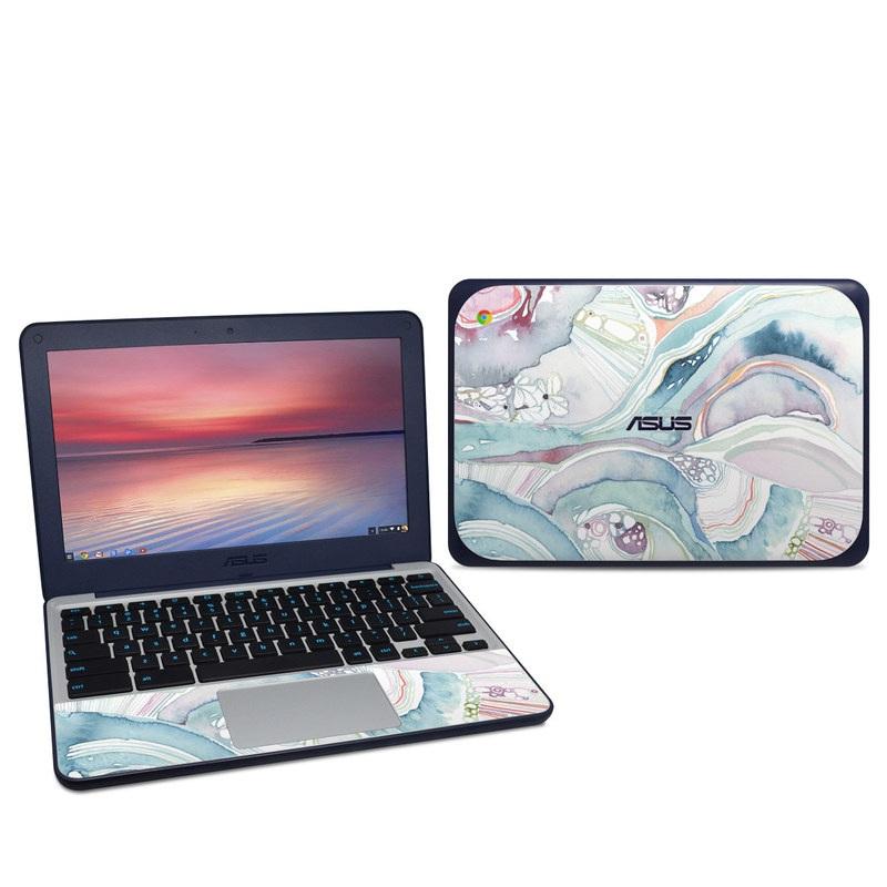 Asus Chromebook C202S Skin design of Watercolor paint, Plant, Art, Illustration, Flower with blue, purple, pink, red, orange colors
