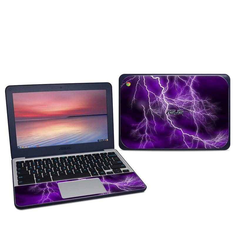 Asus Chromebook C202S Skin design of Thunder, Lightning, Thunderstorm, Sky, Nature, Purple, Violet, Atmosphere, Storm, Electric blue with purple, black, white colors