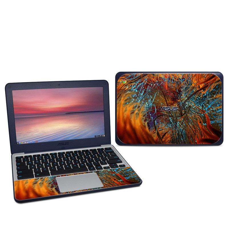 Asus Chromebook C202S Skin design of Orange, Tree, Electric blue, Organism, Fractal art, Plant, Art, Graphics, Space, Psychedelic art with orange, blue, red, yellow, purple colors