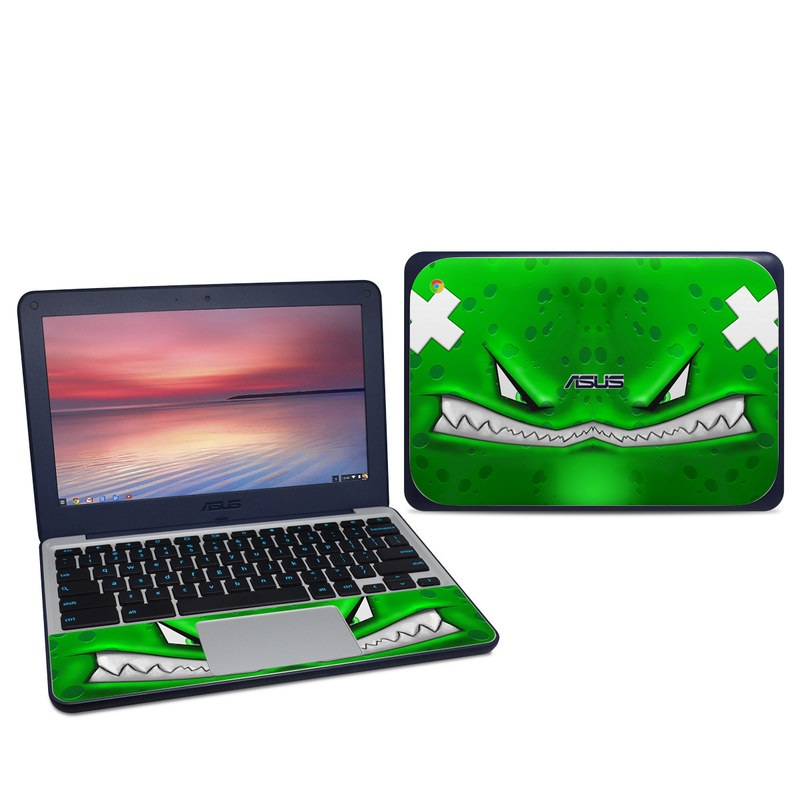 Asus Chromebook C202S Skin design of Green, Font, Animation, Logo, Graphics, Games with green, white colors