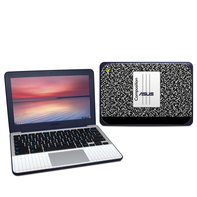 Asus Chromebook C202S Skin design of Text, Font, Line, Pattern, Black-and-white, Illustration with black, gray, white colors