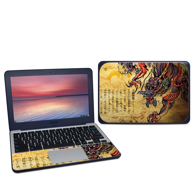 Asus Chromebook C202S Skin design of Illustration, Fictional character, Art, Demon, Drawing, Visual arts, Dragon, Supernatural creature, Mythical creature, Mythology with black, green, red, gray, pink, orange colors