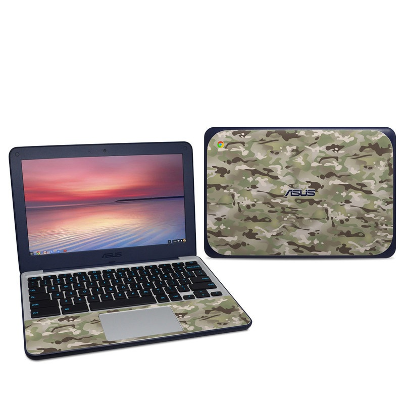 Asus Chromebook C202S Skin design of Military camouflage, Camouflage, Pattern, Clothing, Uniform, Design, Military uniform, Bed sheet with gray, green, black, red colors
