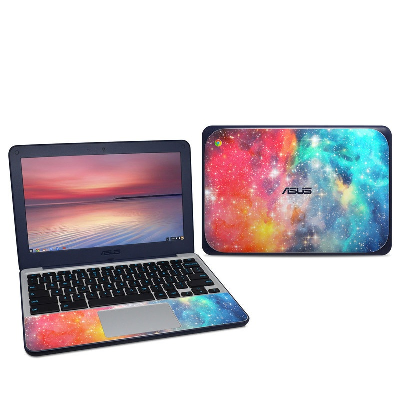 Asus Chromebook C202S Skin design of Nebula, Sky, Astronomical object, Outer space, Atmosphere, Universe, Space, Galaxy, Celestial event, Star with white, black, red, orange, yellow, blue colors