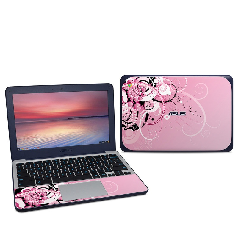 Asus Chromebook C202S Skin design of Pink, Floral design, Graphic design, Text, Design, Flower Arranging, Pattern, Illustration, Flower, Floristry with pink, gray, black, white, purple, red colors