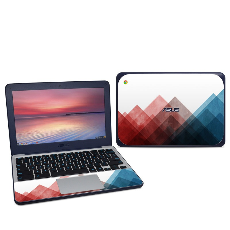 Asus Chromebook C202S Skin design of Blue, Red, Sky, Pink, Line, Architecture, Font, Graphic design, Colorfulness, Illustration with red, pink, blue colors