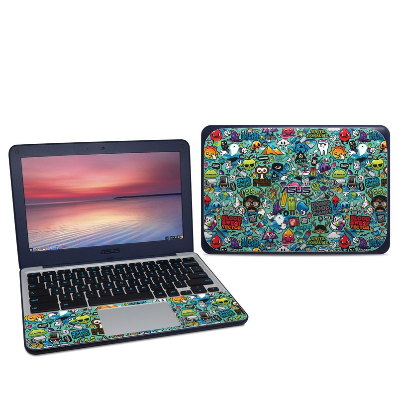 Asus Chromebook C202S Skin design of Cartoon, Art, Pattern, Design, Illustration, Visual arts, Doodle, Psychedelic art with black, blue, gray, red, green colors