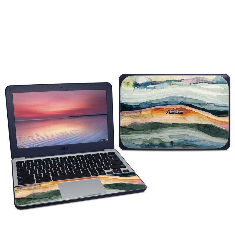 Asus Chromebook C202S Skin design of Watercolor paint, Painting, Sky, Wave, Geology, Landscape, Pattern, Acrylic paint, Cloud, Paint with blue, purple, orange, yellow, red, green, brown colors