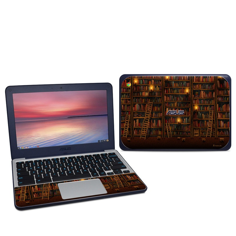Asus Chromebook C202S Skin design of Shelving, Library, Bookcase, Shelf, Furniture, Book, Building, Publication, Room, Darkness with black, red colors