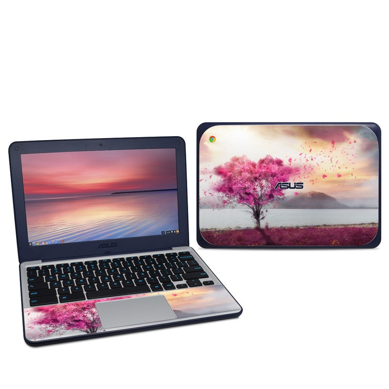 Asus Chromebook C202S Skin design of Sky, Nature, Natural landscape, Pink, Tree, Spring, Purple, Landscape, Cloud, Magenta with pink, yellow, blue, black, gray colors