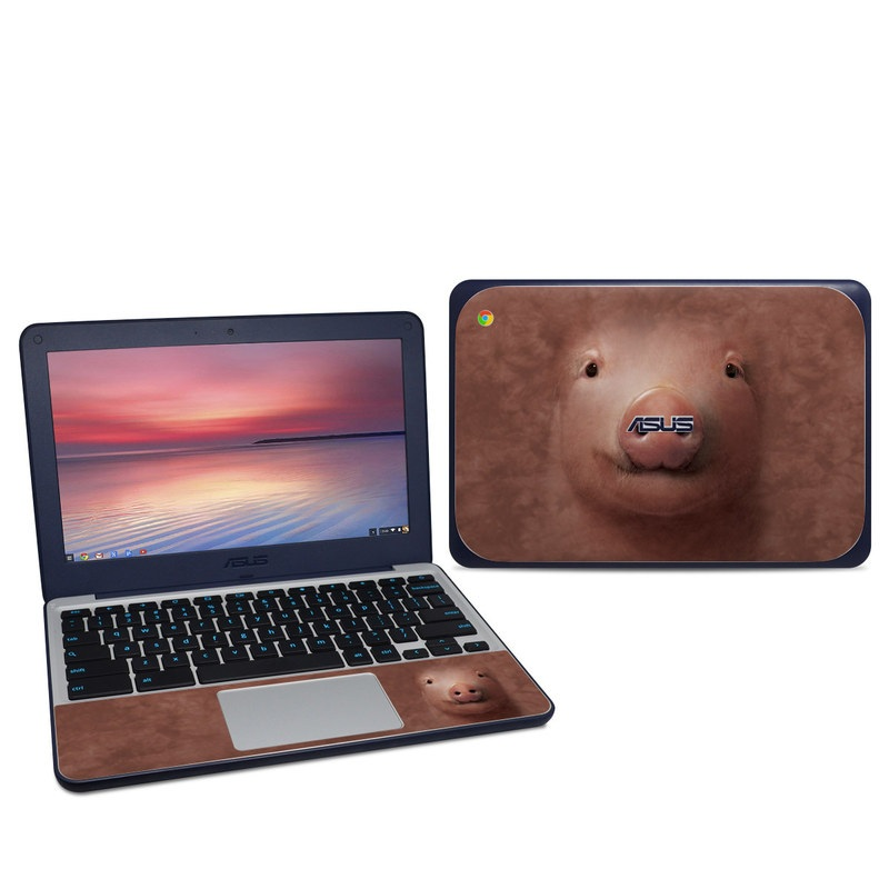 Asus Chromebook C202S Skin design of Nose, Domestic pig, Face, Snout, Head, Suidae, Skin, Chin, Mouth, Cheek with red, black, gray, green colors