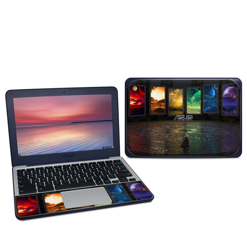 Asus Chromebook C202S Skin design of Light, Lighting, Water, Sky, Technology, Night, Art, Geological phenomenon, Electronic device, Glass with black, red, green, blue colors