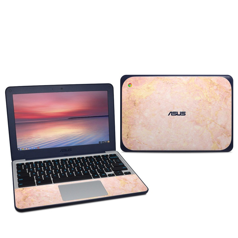Asus Chromebook C202S Skin design of Pink, Peach, Wallpaper, Pattern with pink, yellow, orange colors