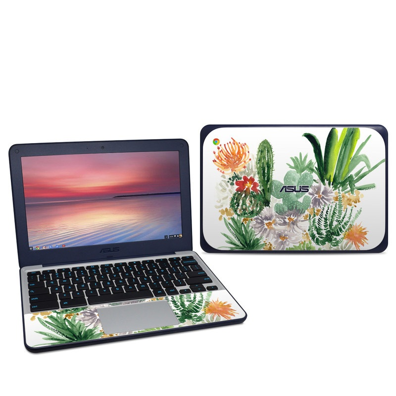 Asus Chromebook C202S Skin design of Cactus, Plant, Flower, Botany, Leaf, Illustration, Pine, Grass, Succulent plant, Branch with white, green, red, orange colors